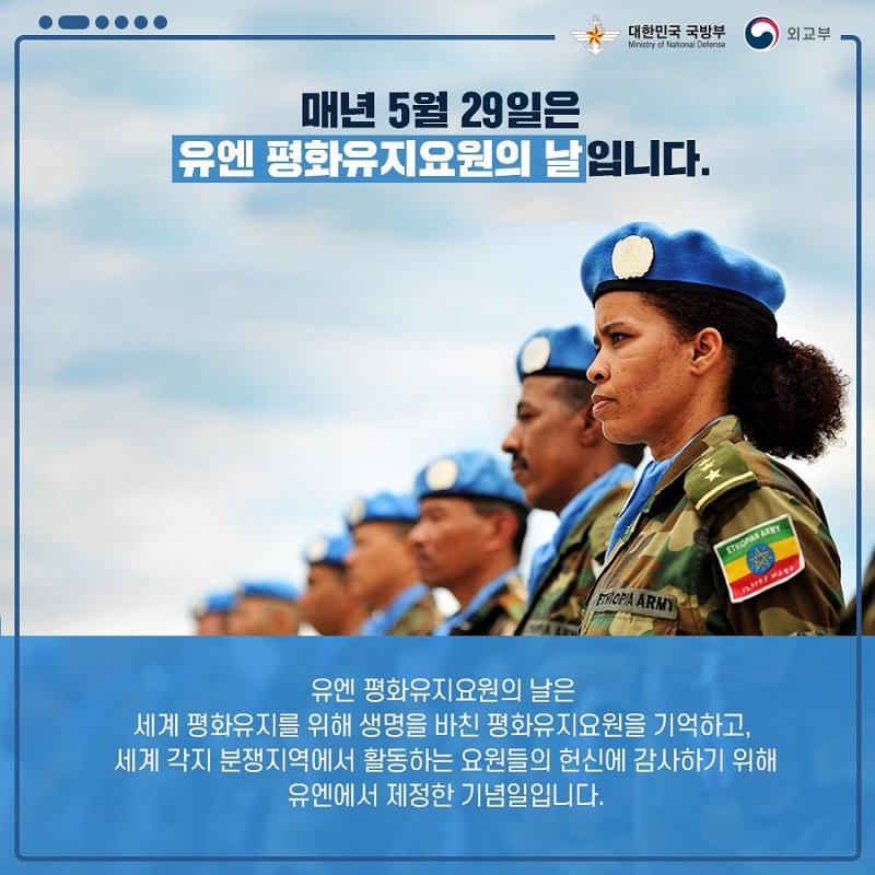 """유엔 평화유지요원의 날 """"세계평화의 수호자, 블루헬멧"""""""