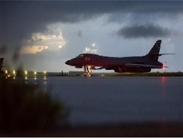 B-1B bomber, flying near the North at the East Sea in international airspace ... A Strong warning message 대표 이미지